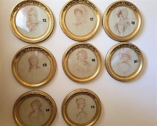 Crayon Portraits by Samuel Worcester Rowse circa 1880s frames ornately carved and pictured framed on Fifth Avenue in New York.