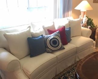2 Pristine White Herringbone Fabric 3 cushions Couches