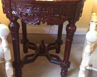 2 Asian Style Rosewood End table with Granite top