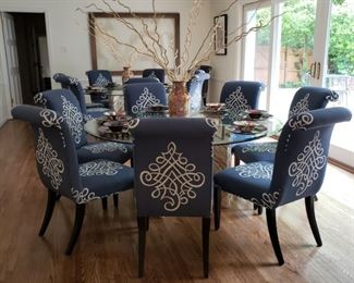 Sixteen upholstered side chairs by Expressions