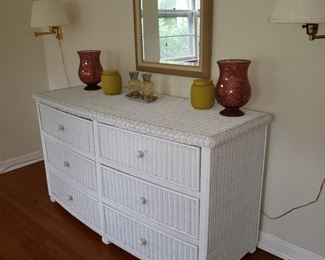 Wicker dresser, there is also a pair of nightstands and an armoire
