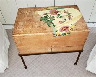Painted wooden box on stand