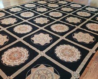 Room size needlepoint rug, approximately 11 feet 9 inches by 14 feet 5 inches