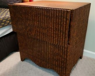 Pair of great looking two drawer bamboo style nightstands