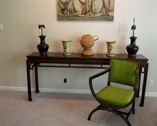 Oriental style console table and armchair