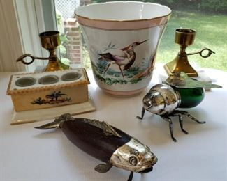 Italian silver plate and green glass bee and other vintage items