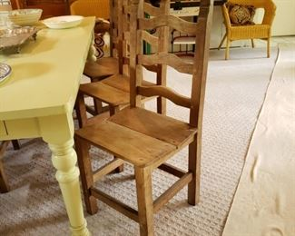 Set of eight wooden side chairs