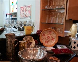 Everyday dishes and wine glasses