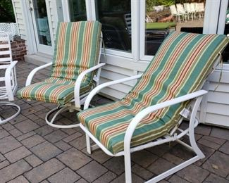 Pair of patio chairs with cushions