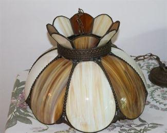 Vintage Bent Slag Glass Swag Light