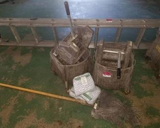 2 Metal Mop Buckets and Ringer, Mop, and 3 Brand New Heads