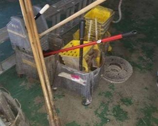 3 Mop Buckets, Mop Handles, Plungers