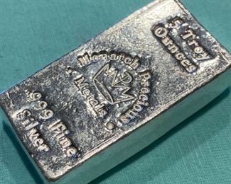 RARE Monarch Hand Poured 5 ounce silver bar
