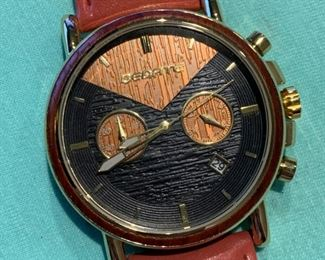 Designer Genuine wood and leather chronograph watch