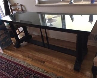 glass top antique library table