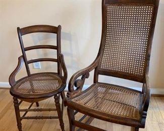 2 Wooden Cane Chairs https://ctbids.com/#!/description/share/194334