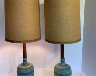 Set of Unique Lamps, Clay and Wood https://ctbids.com/#!/description/share/194336