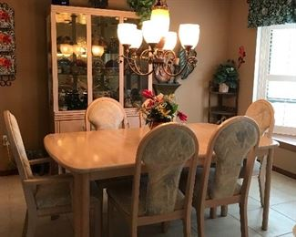 """Matching table with 6 chairs 72 l ( as shown) 42 w ( leaf is 18"""")"""