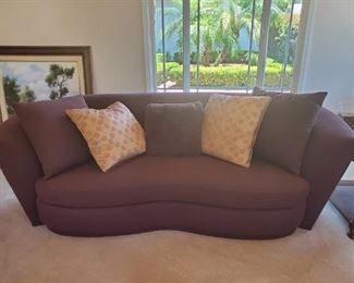 Brown Upholstered Curved Sofas