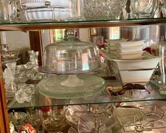 Some of the glass serving items