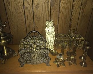 Brass items. Candle sticks. Napkin holder and more