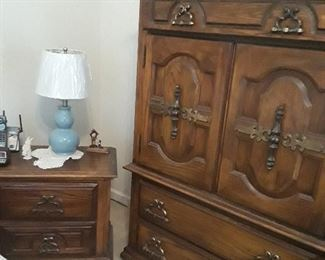 chest of drawers and one of the end tables as part of the 5 pc bedroom set
