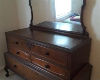 ornate antique dresser w/mirror, has matching double bed