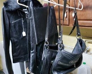 Harley Davidson purses, jacket and chaps