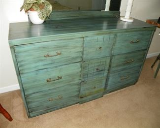 Painted dresser and mirror