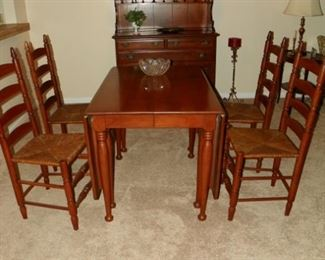 Double drop leaf table and ladderback chairs