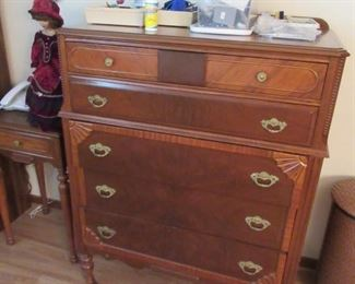ASKING $500.00 FOR ALL 3 PIECE ANTIQUE BEDROOM SET, DRESSING TABLE WITH STOOL, TALLBOY DRESSER, AND  LADIES DRESSER WITH MIRROR