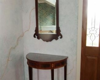 $ 150.00 ENTRY DEMI LUNE TABLE WITH MATCHING MIRROR ASKING $150.00