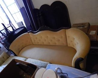 Fabulous Victorian sofa in buttery yellow velvet. Very sturdy & comfortable.