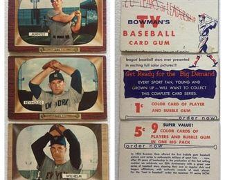 Rare 1955 Bowman Salesman Sample Cards(Mantle, Wilhelm, Reynolds)