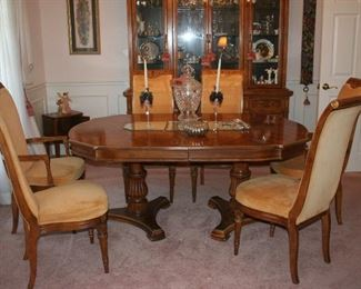 Formal dining table with 6 chairs, china cabinet