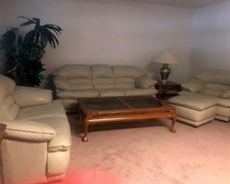 Entire Leather Living rm set $950 includes sofa, love seat, chair and ottoman, coffee table, 2 end tables and 2 lamps