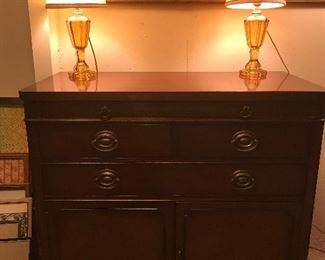 Server with mid century lamps
