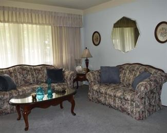 Broyhill Sofas, Coffee End Table, Lamps, MCM Vase