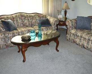 Bernhardt End Table, Broyhill Sofas, Lamp, Vases Coffee Table