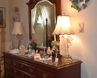 Dresser, Mirror, Etched Lamps, Clock, More