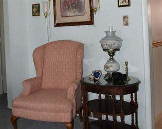 Scones, Framed Print, Qing Back Chair, Lamp, Side Table