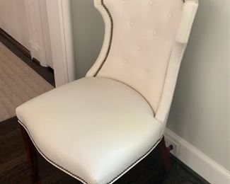 "Lillian August Leather ""Quinn Chair"". Tufted Leather with nailhead trim and a satin finish. W23 x D28 x  H38 Seat Height is 18""  Tapered wooden legs"