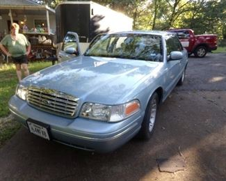 This 2002 Ford Crown Victoria is BEAUTIFUL!!! The Car has 56,000 or so original miles on it! No dents or scratches, good tires and the interior is Perfect!! It is Baby blue with light gray matching leather interior. It has ALL the buttons and a trunk that is HUGE! It is like a NEW CAR!!!! We are asking $4,500.00 and it will not last long. Call Steve @ 214-240-1435. It runs perfectly, Lic. and Inspected.
