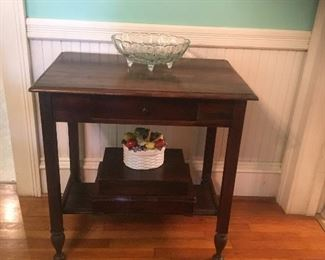 Solid Wood Side Serving Table