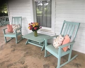 3pc wood rocker set with table