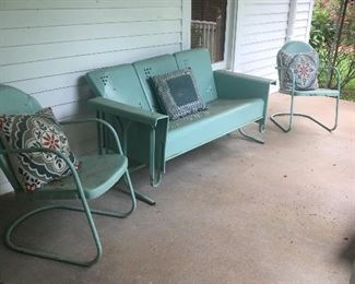 Vintage glider and 4 chairs