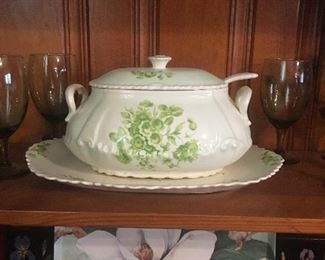 Soup Tureen, ladle and platter