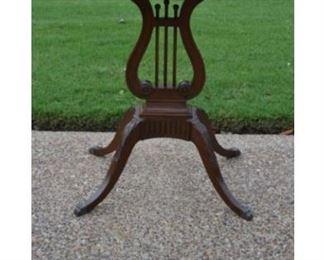 Vintage Antique Lyre Harp Mahogany Table - Set of 2