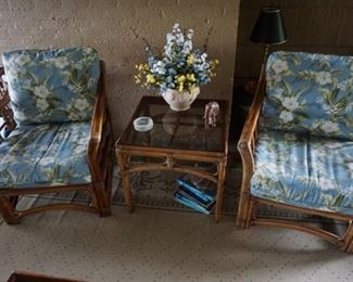 2 Lane Venture Chairs and end table,