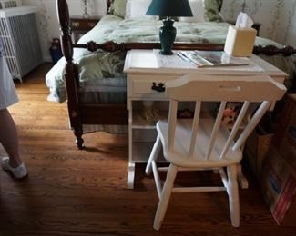 White wood desk and chair, lamp